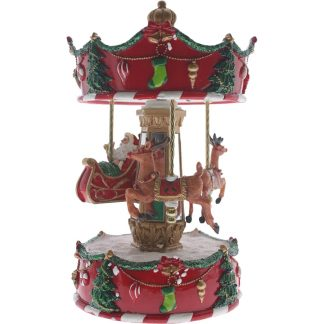 10' Red Xmas Carousel with Santa