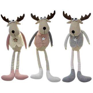 50cm Pink/White/Grey Sitting Deer
