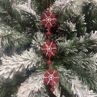 """10"""" Hanging Snowflake Red"""